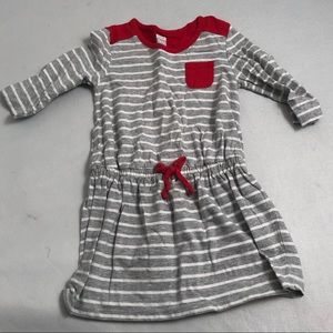 Old Navy gray/white drawstring waist striped dress